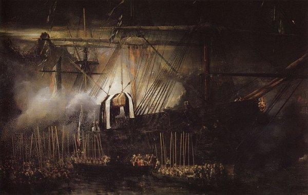 placing napoleons coffin aboard la belle poule